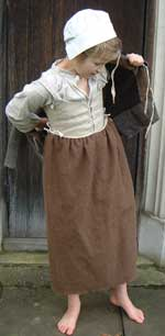 Girl wearing historically  correct fabrics